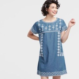 NWOT Embroidered Chambray Dress